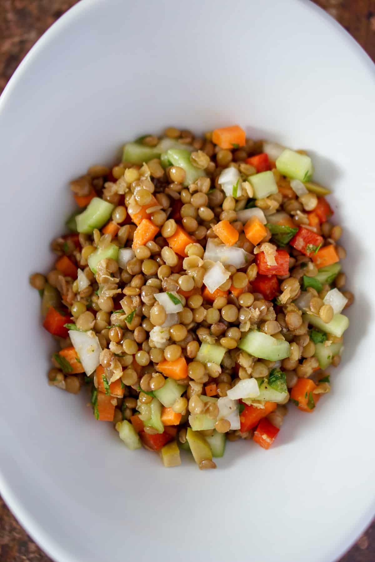 Overhead shot of lentil salad in a white bowl, a popular vegetarian tapas recipe.