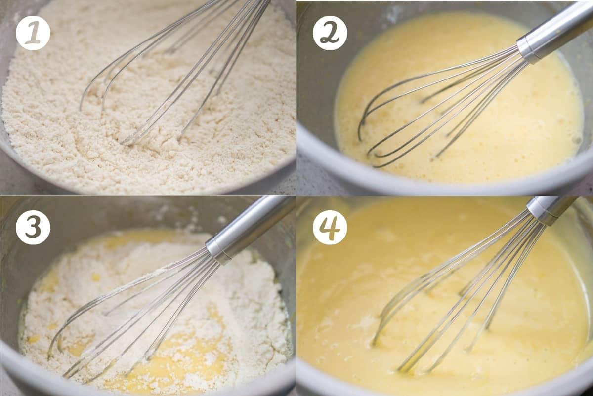 Lemon yogurt cake step by step instructions in a grid.