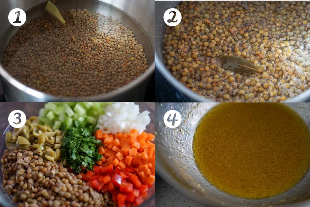 Lentil Salad preparation steps 1-4 in a grid.