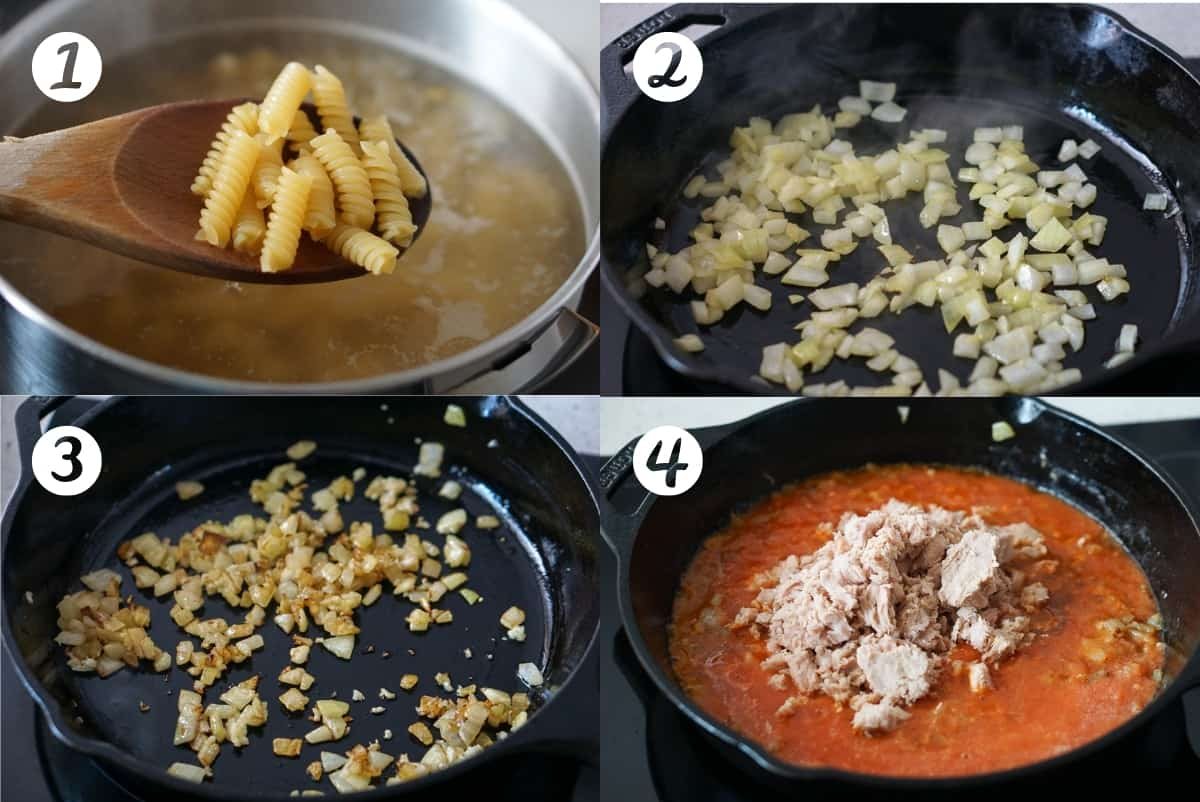 Tuna Pasta instructions 1-4 in a grid. Number one shows a pot of pasta boiling and a spoon full of fusilli pasta, 2 shows diced onions in a cast iron skillet, 3 shows browned onions and garlic in a cast iron skillet and 4 shows tomato sauce with tuna in a cast iron skillet