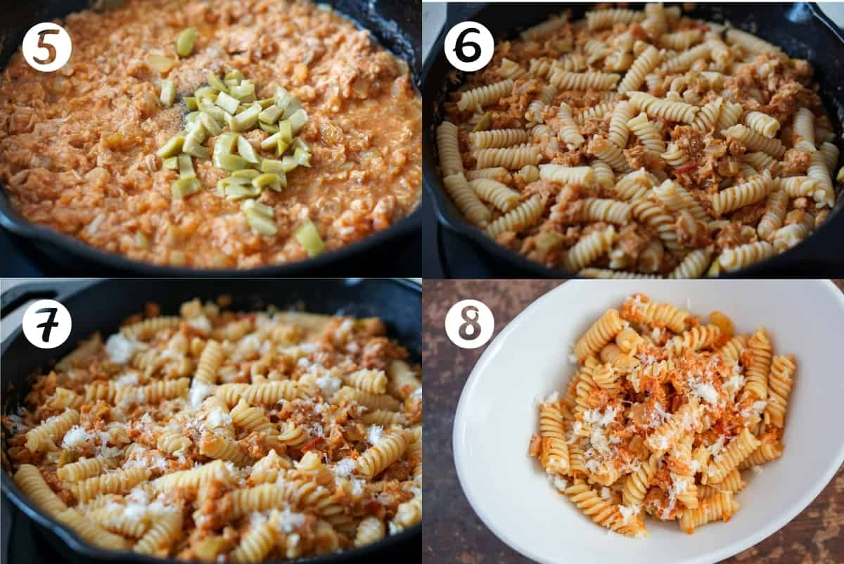 Tuna pasta steps 5-8 in a grid: step 5 is tomato, tuna, and diced green olives in a cast iron pan, step 6 is fusilli pasta with tuna and tomato in a cast iron pan, step 7 show tuna pasta with grated cheese on top in a cast iron pan and step 8 show tuna pasta on a white plate.