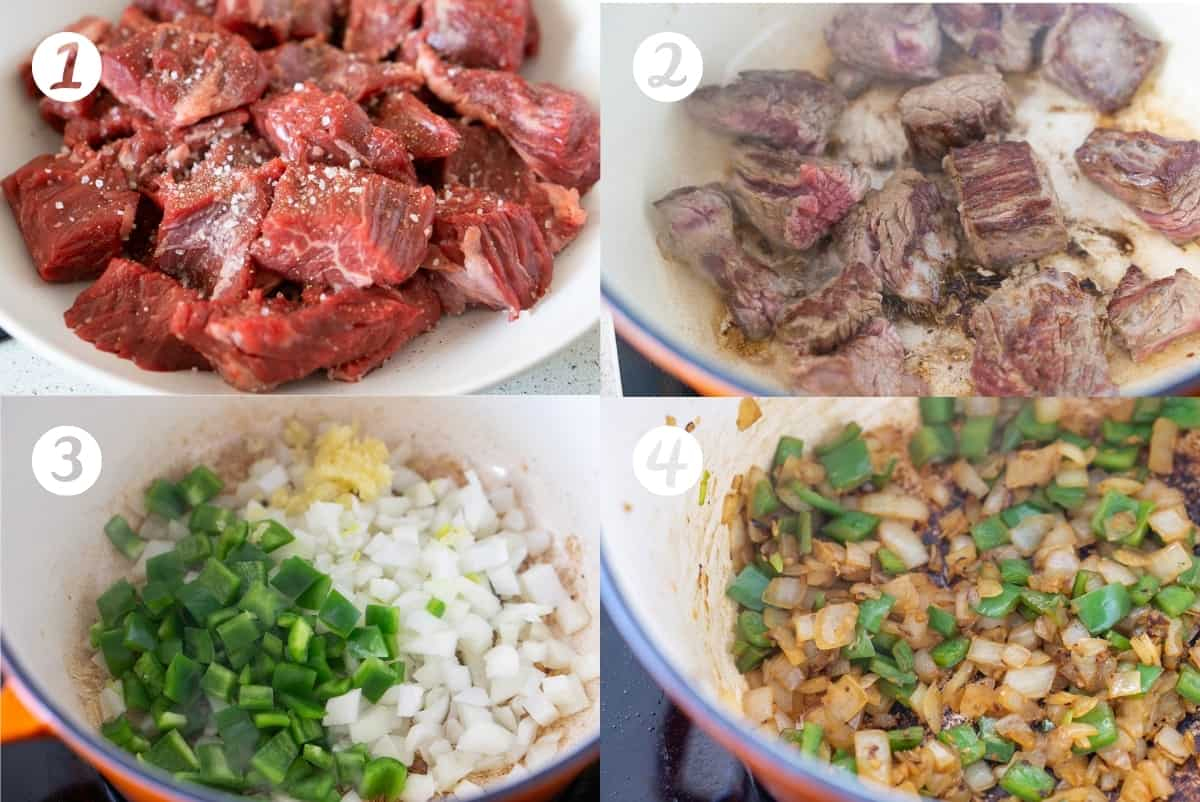 Steps 1-4 for making Spanish style beef stew in a grid
