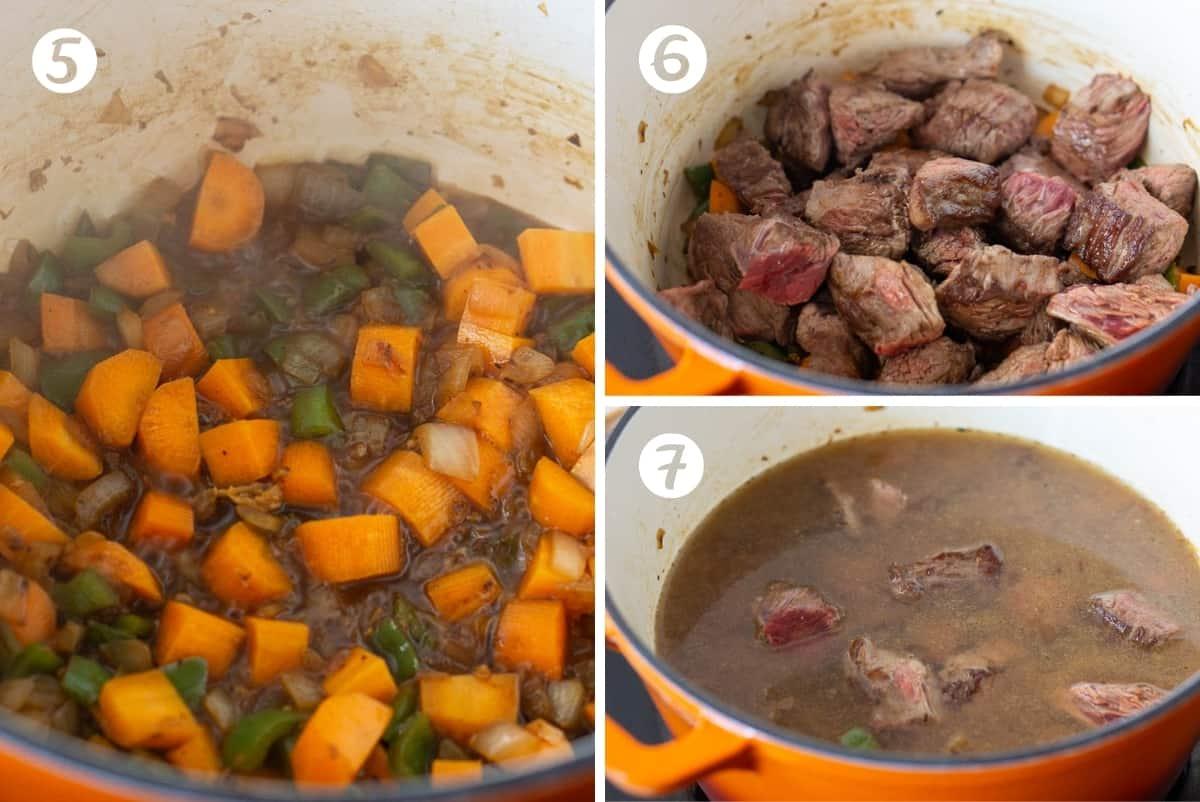 Steps 5-7 of making Spanish carne guisada