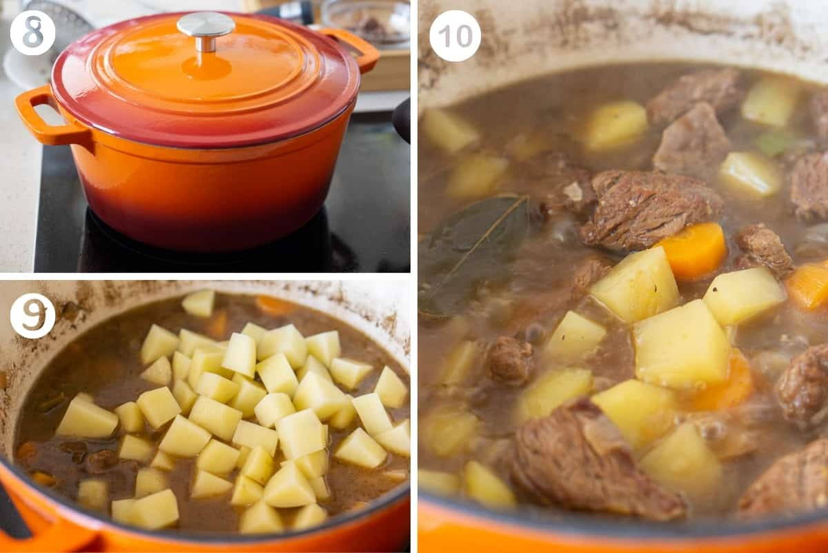 Steps 8-10 of making Spanish beef stew