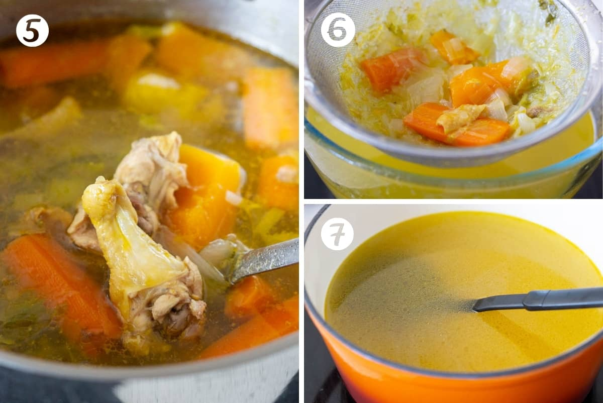 Steps 5-7 for making caldo de pollo in a grid. The finished pot of chicken broth, straining the broth, and the final pot of strained broth.