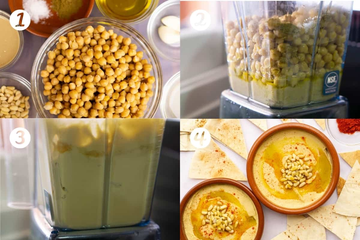 Step by Step photos of making Spanish hummus. Four photos in a grid.