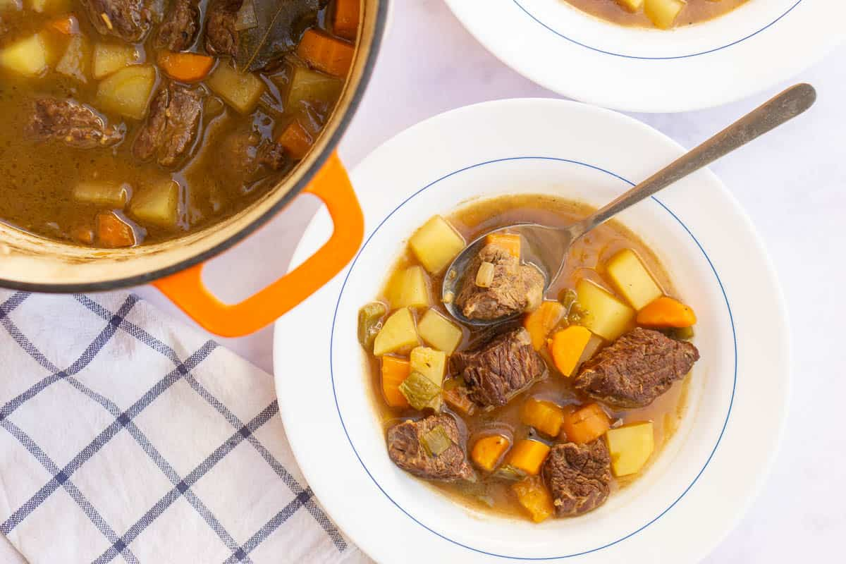 Spanish style beef stew in a white bowl with a pot of stew in the background.