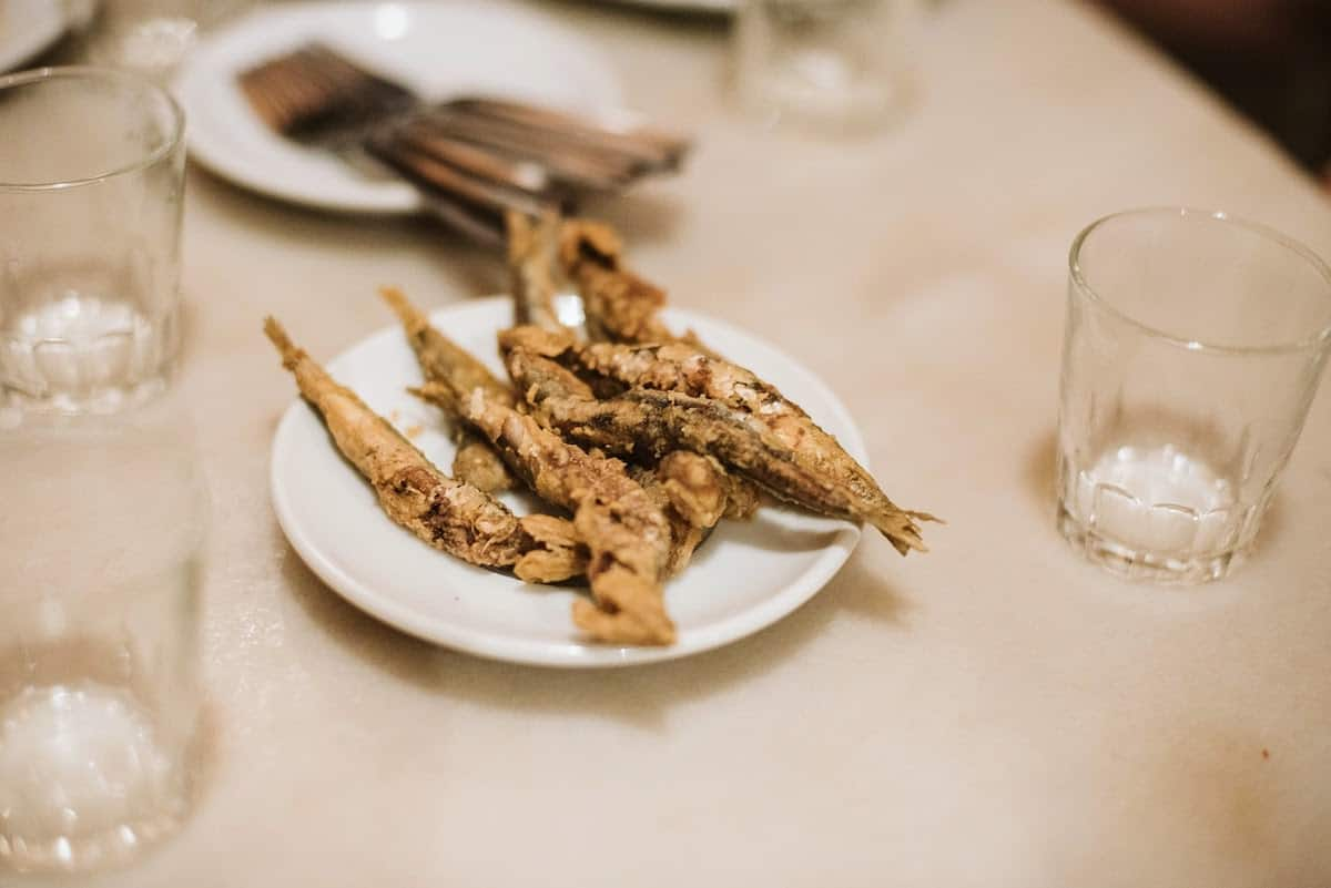 Plate of fried anchovies