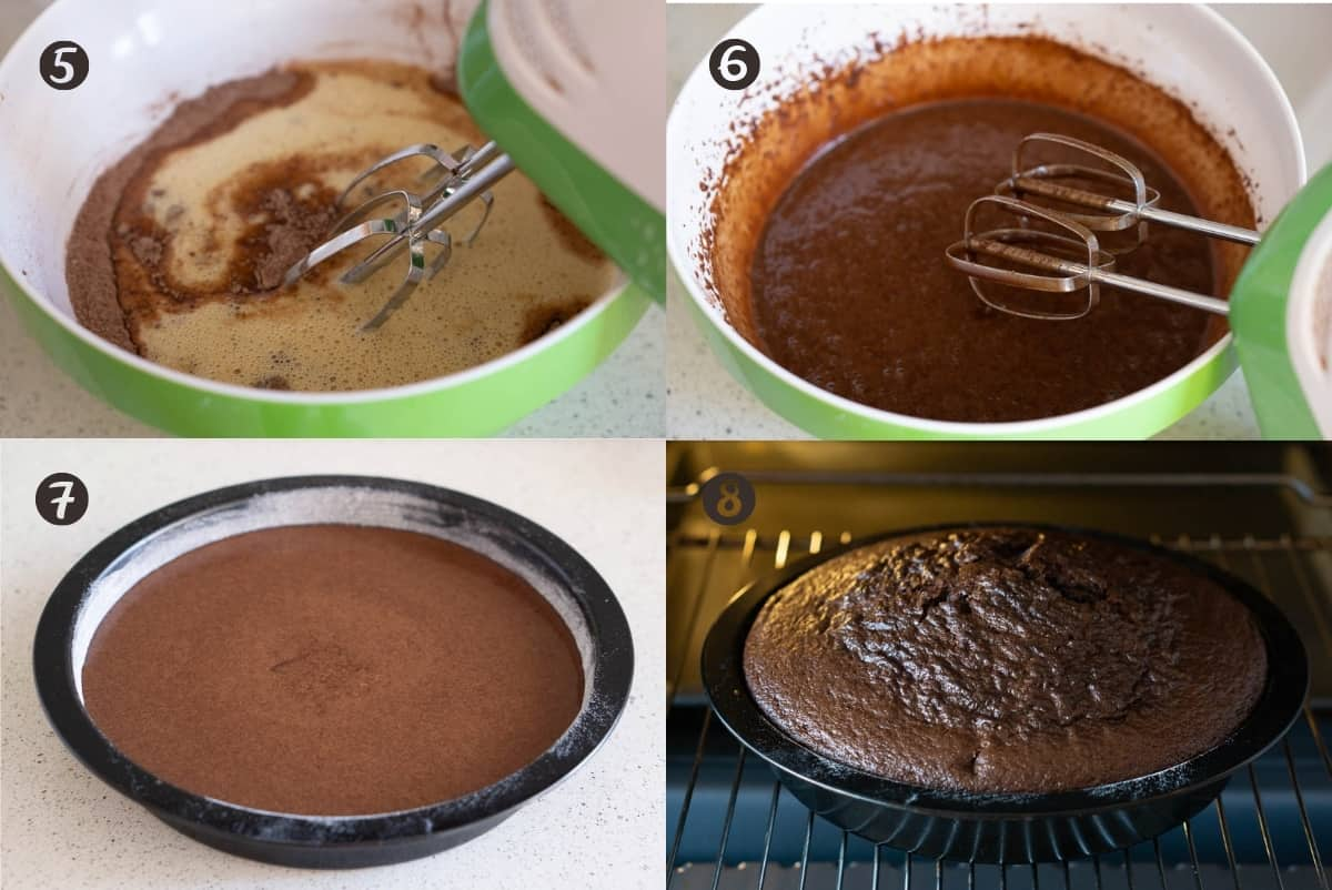 Steps 5-8 of making chocolate olive oil cake in a grid. Mixing wet ingredients into dry. Putting in mold and baking in oven.