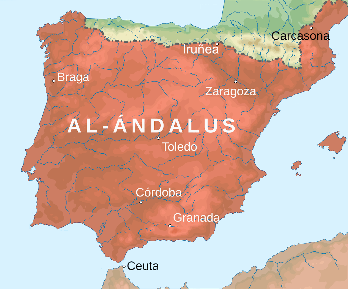 Map of the Iberian Peninsula in the early 8th century, showing the extent of the state of Al-Andalus in orange.