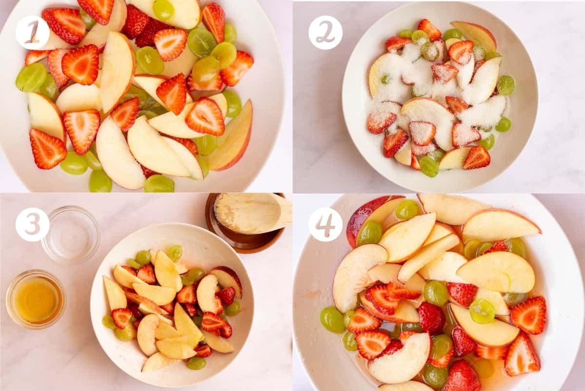 Steps 1-4 for making white sangria in a grid. Macerating the fruit with sugar and alcohol.