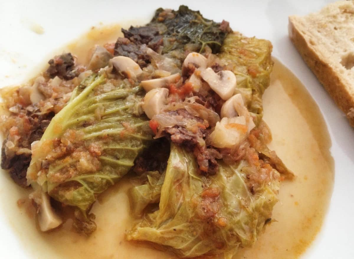 Typical Mallorcan dish of cabbage, meat, and other vegetables