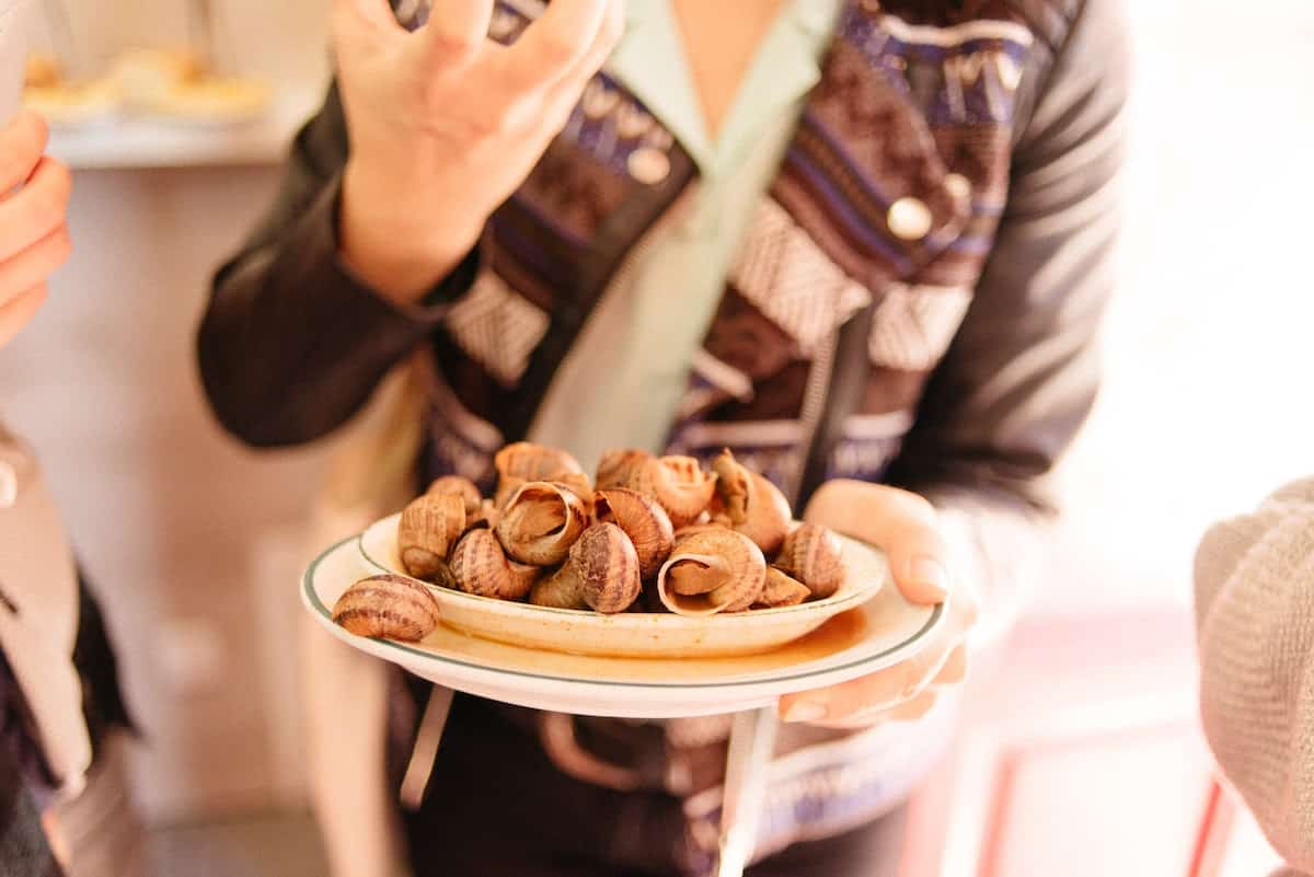Snails served in a small dish