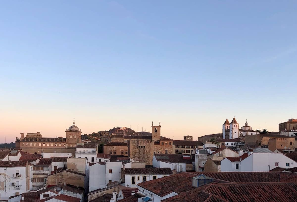 Skyline of the medieval old town of Cáceres, Spain