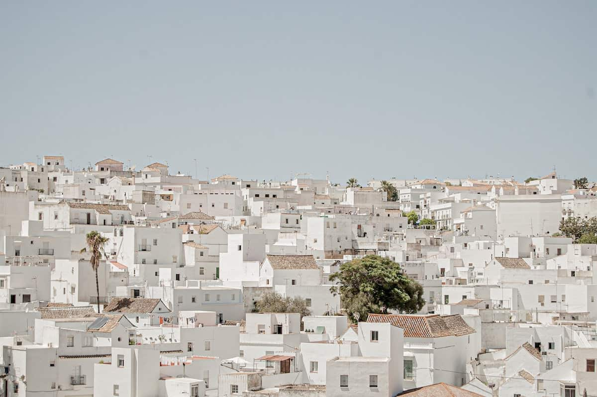 View of the white village of Vejer de la Frontera in southern Spain